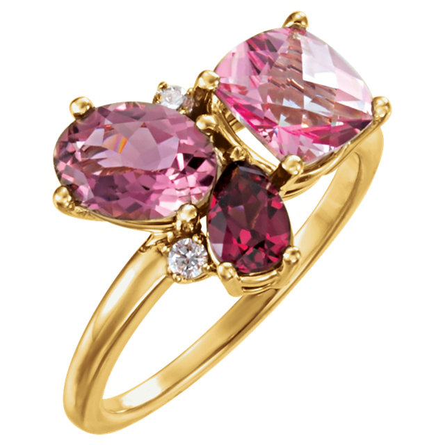 Eye Catchy 14 Karat Yellow Gold Multi-Gemstone & .05 Carat Total Weight Diamond Cluster Ring