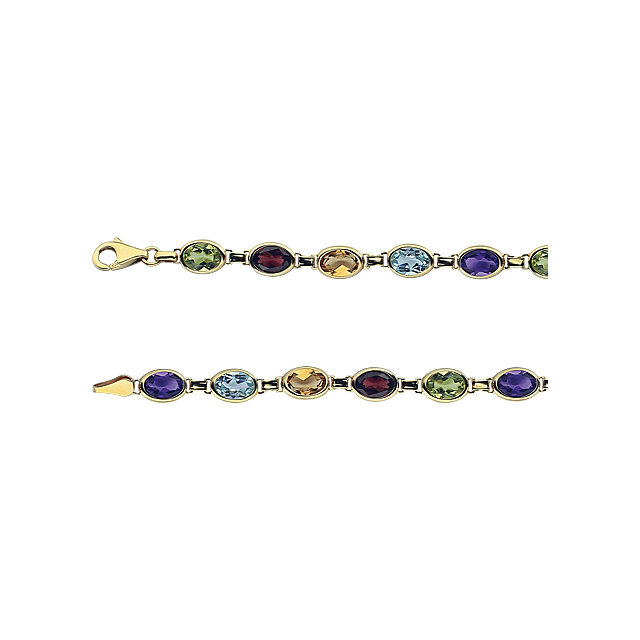 Gorgeous 14 Karat Yellow Gold Multi-Gemstone 7