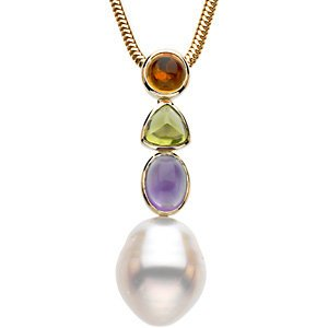 14KT Yellow Gold Multicolor Gemstone & 12mm South Sea Cultured Circle Pearl Pendant