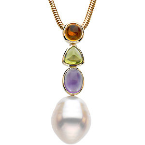 14 KT Yellow Gold Multicolor Gemstone & 12mm South Sea Cultured Circle Pearl Pendant