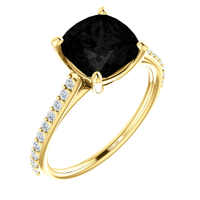 Easy Gift in 14 Karat Yellow Gold Onyx & 0.20 Carat Total Weight Diamond Ring