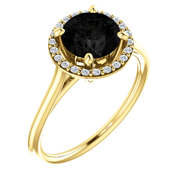 Spectacular 14 Karat Yellow Gold Round Genuine Onyx & 1/8 Carat Total Weight Diamond Ring