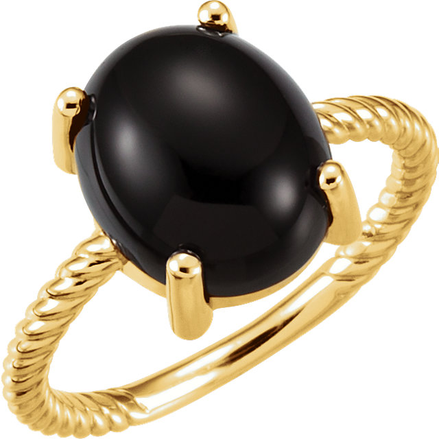 Great Buy in 14 Karat Yellow Gold Onyx Cabochon Ring