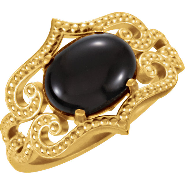 Appealing Jewelry in 14 Karat Yellow Gold Onyx Granulated Design Ring