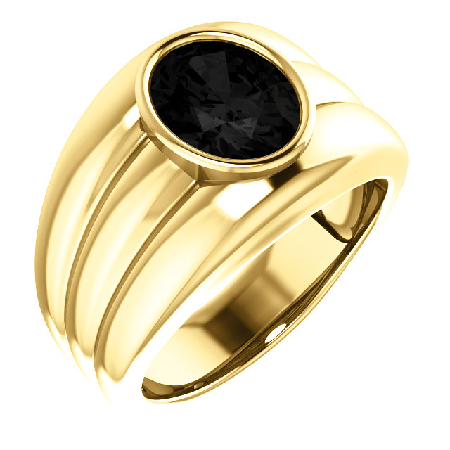 Surprise Her with  14 Karat Yellow Gold Onyx Men's Bezel Ring