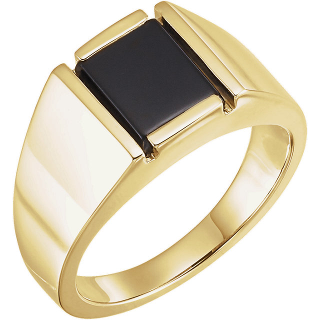 Fine Quality 14 Karat Yellow Gold Onyx Men's Ring
