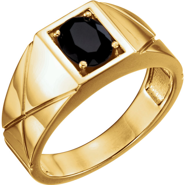 Wonderful 14 Karat Yellow Gold Oval Genuine Onyx Men's Ring