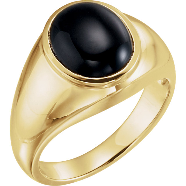 Fabulous 14 Karat Yellow Gold Oval Genuine Onyx Ring