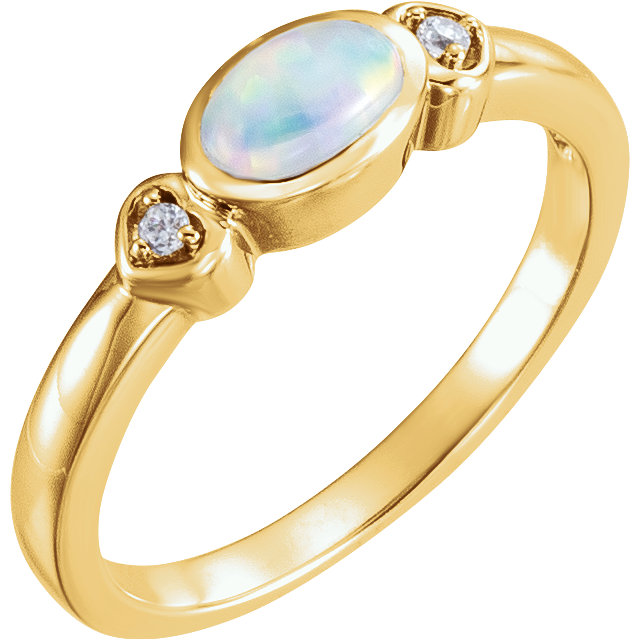 14 Karat Yellow Gold Opal & .03 Carat Diamond Accented Ring