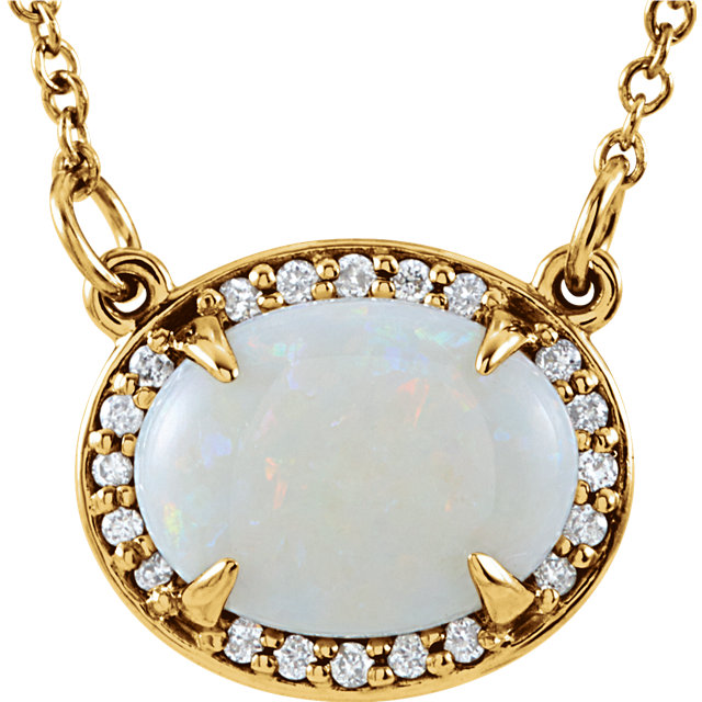 White Opal Necklace in 14 Karat Yellow Gold Opal & .05 Carat Diamond Halo-Style 16.5