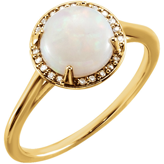 Must See 14 Karat Yellow Gold Opal & .05 Carat Total Weight Diamond Ring