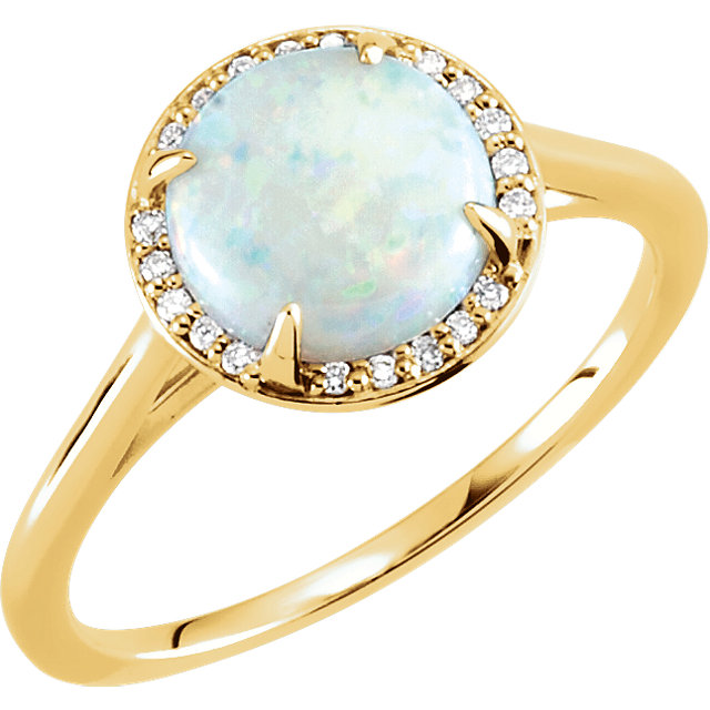 Great Gift in 14 Karat Yellow Gold Opal & .05 Carat Total Weight Diamond Ring