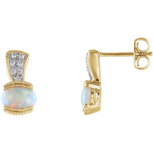 Fine Quality 14 Karat Yellow Gold Opal & .07 Carat Total Weight Diamond Earrings
