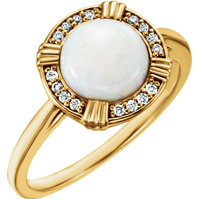 Perfect Gift Idea in 14 Karat Yellow Gold Opal & .08 Carat Total Weight Diamond Ring