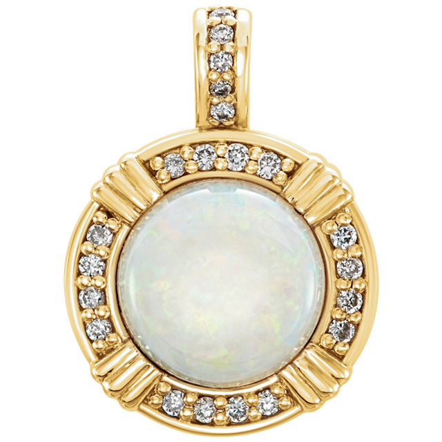 Contemporary 14 Karat Yellow Gold Opal & 0.10 Carat Total Weight Diamond Pendant