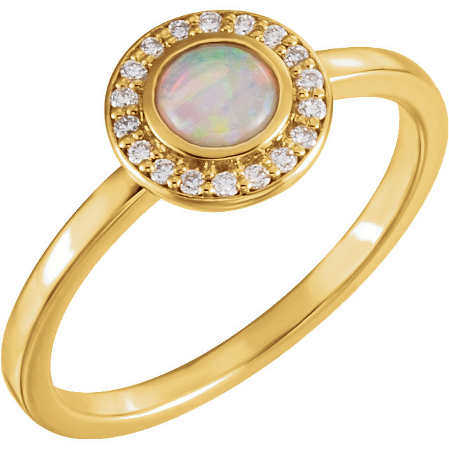 Great Deal in 14 Karat Yellow Gold Opal & .08 Carat Total Weight Diamond Ring
