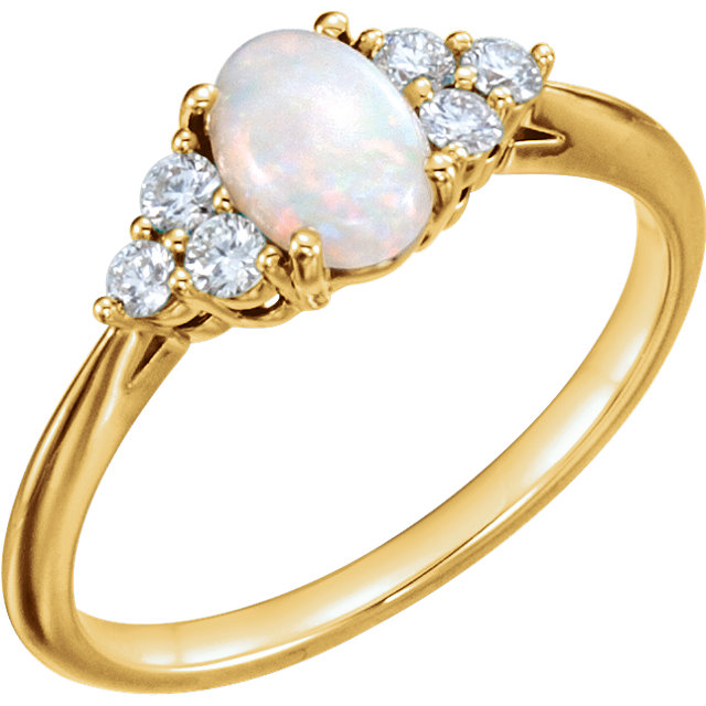 Appealing Jewelry in 14 Karat Yellow Gold Opal & 0.20 Carat Total Weight Diamond Ring