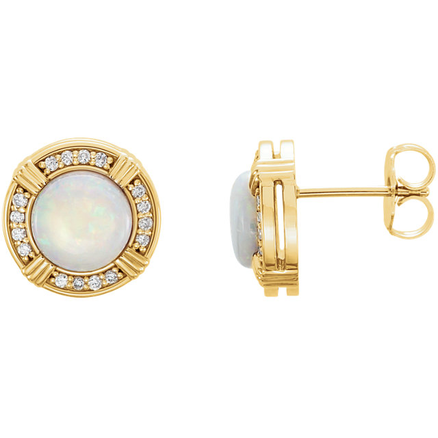 Great Buy in 14 Karat Yellow Gold Opal & 0.17 Carat Total Weight Diamond Earrings