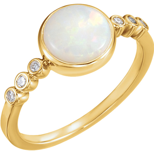 Wonderful 14 Karat Yellow Gold Opal & 0.10 Carat Total Weight Diamond Ring