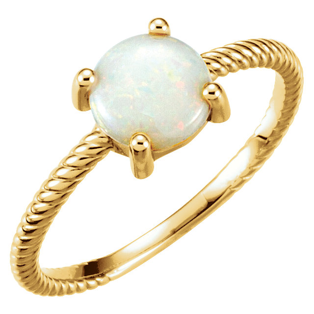 Low Price on Quality 14 KT Yellow Gold Opal Cabochon Ring