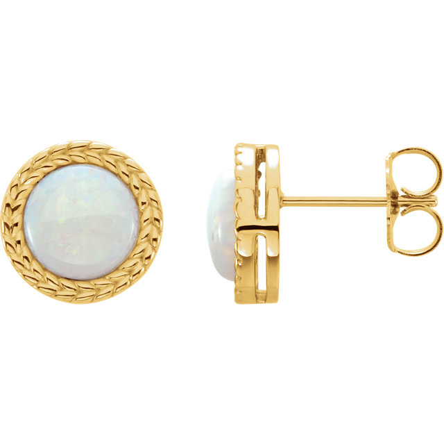 Natural 14 KT Yellow Gold Round Genuine Opal Earrings