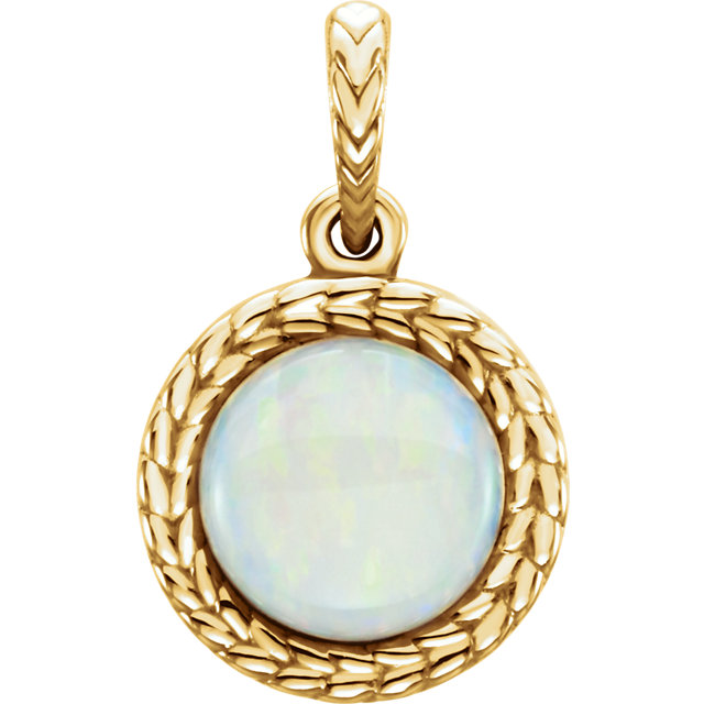 Quality 14 KT Yellow Gold Opal Pendant