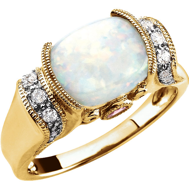 Wonderful 14 Karat Yellow Gold Opal, Pink Tourmaline & 0.17 Carat Total Weight Diamond Ring