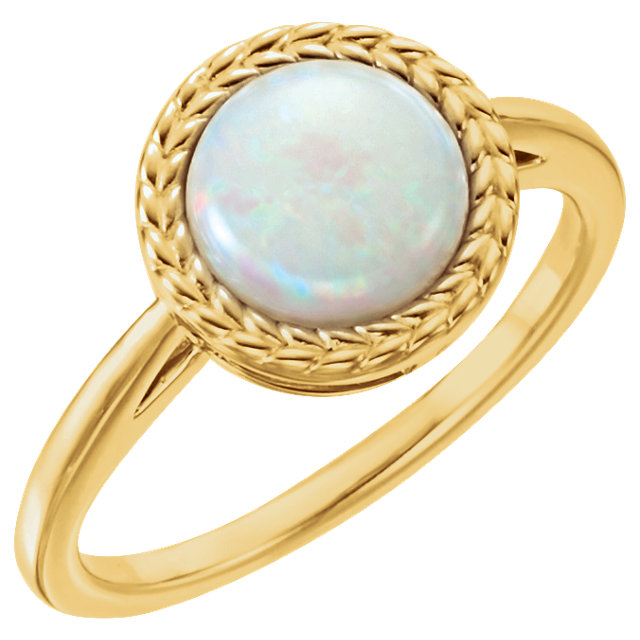 Great Gift in 14 Karat Yellow Gold Opal Ring