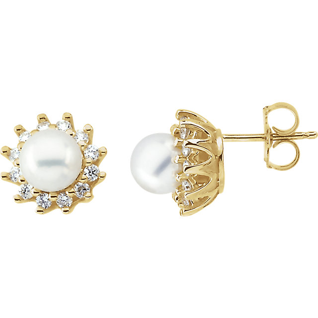 Great Buy in 14 Karat Yellow Gold Pearl & 0.33 Carat Total Weight Diamond Earrings