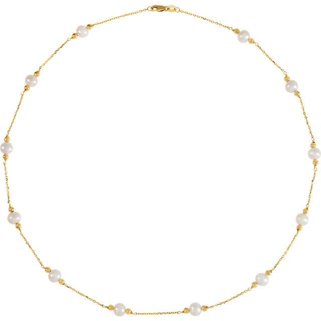Perfect Gift Idea in 14 Karat Yellow Gold Freshwater Cultured Pearl & Bead Station 18