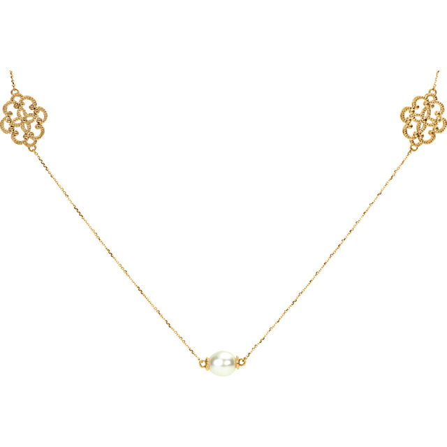 Eye Catchy 14 Karat Yellow Gold South Sea Cultured Pearl Station 40