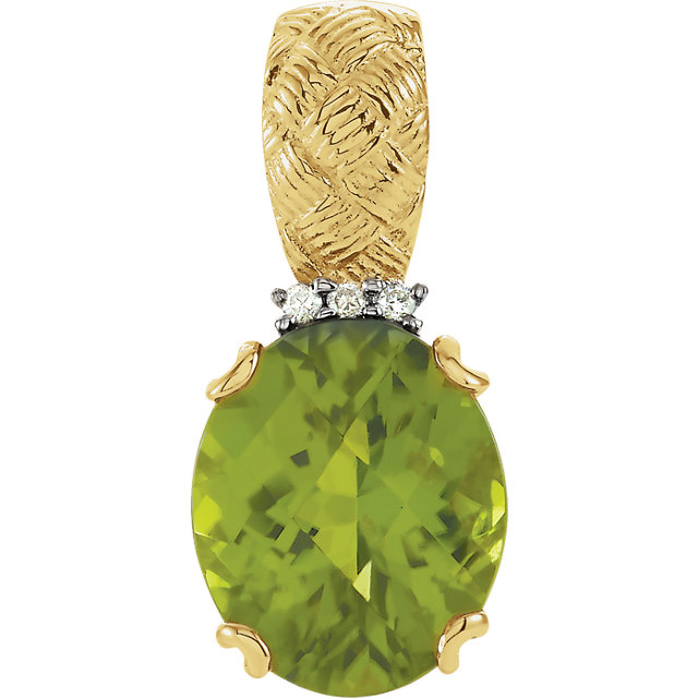 Stunning 14 Karat Yellow Gold Peridot & .03 Carat Total Weight Diamond Pendant