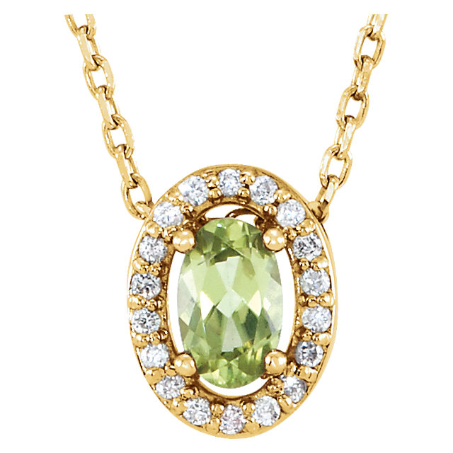 Chic 14 Karat Yellow Gold Peridot & .04 Carat Total Weight Diamond 16