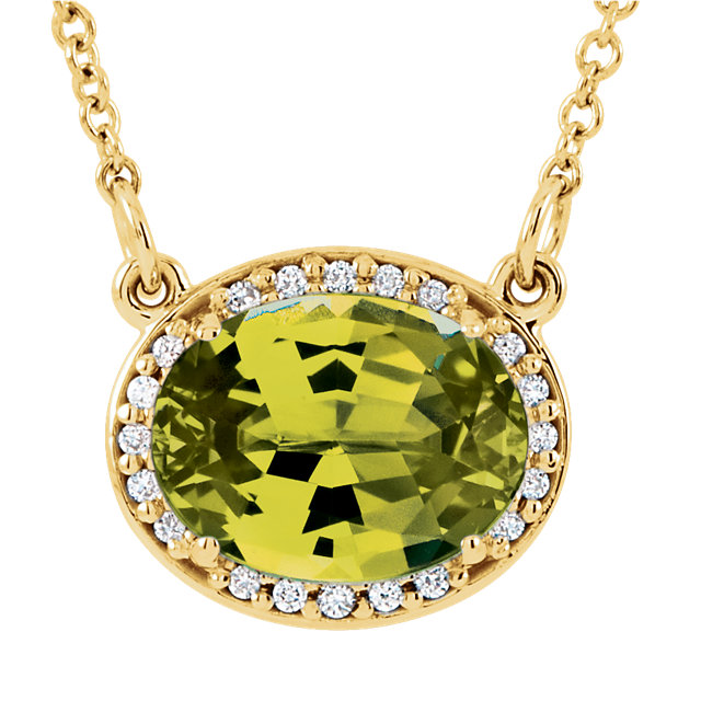 Fine Quality 14 Karat Yellow Gold Peridot & .05 Carat Total Weight Diamond 16.5