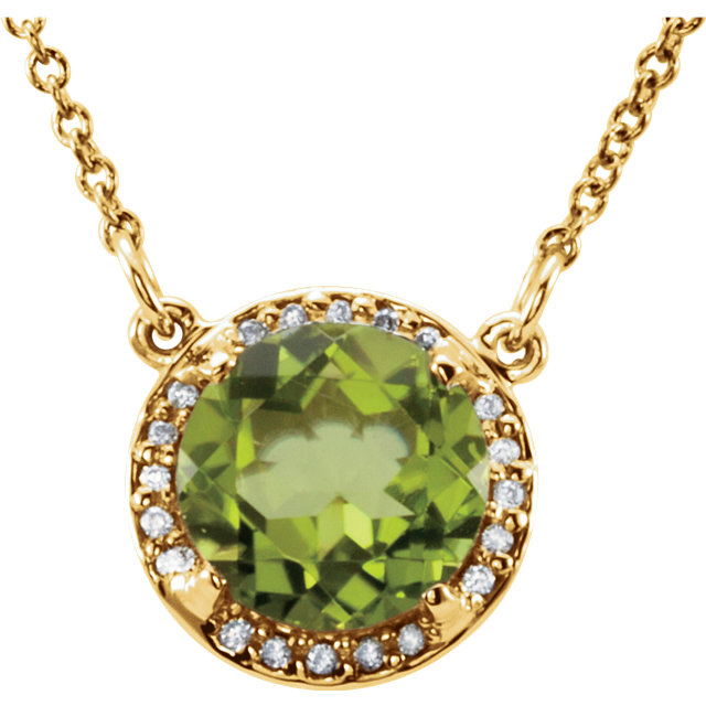 Perfect Jewelry Gift 14 Karat Yellow Gold 8mm Round Peridot & .05 Carat Total Weight Diamond 16