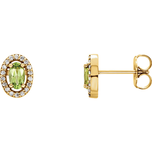 Alluring 14 Karat Yellow Gold Oval Genuine Peridot & .08 Carat Total Weight Diamond Earrings