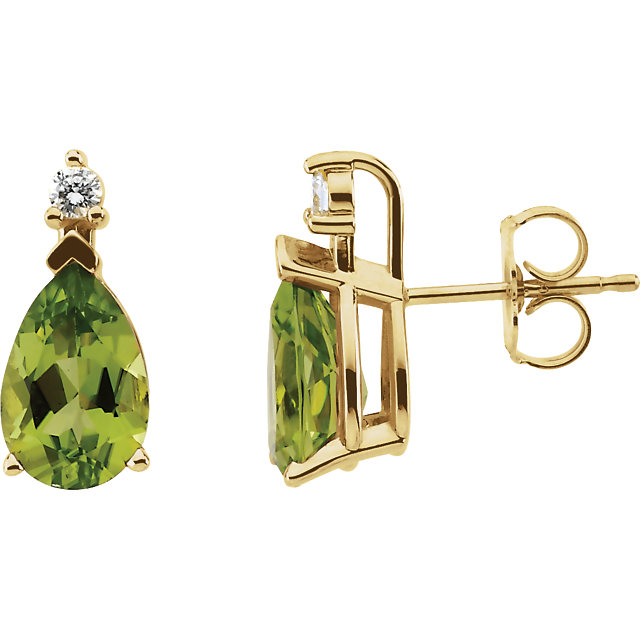 Perfect Gift Idea in 14 Karat Yellow Gold Peridot & .08 Carat Total Weight Diamond Earrings