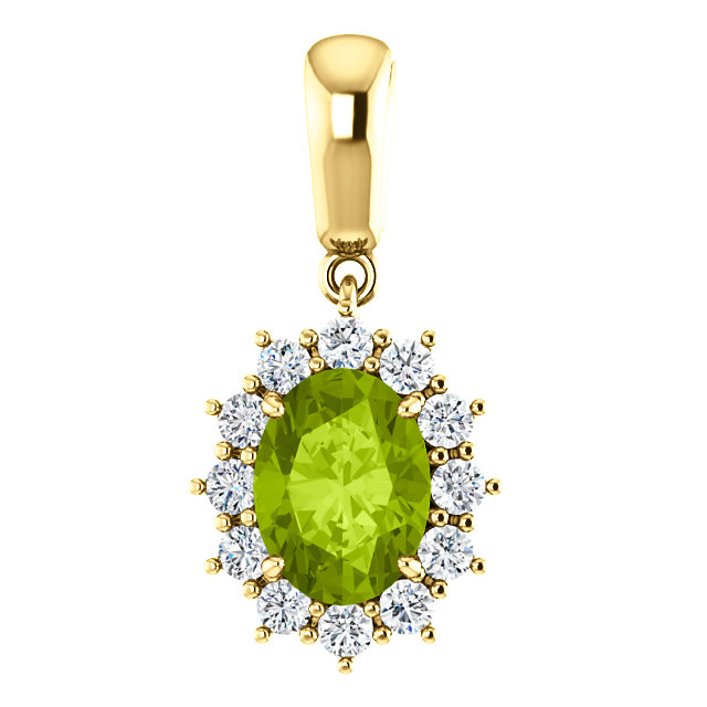 Easy Gift in 14 Karat Yellow Gold Peridot & 0.33 Carat Total Weight Diamond Pendant