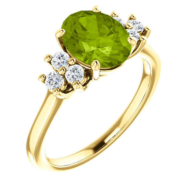 Classic 14 Karat Yellow Gold Oval Genuine Peridot & 1/4 Carat Total Weight Diamond Ring