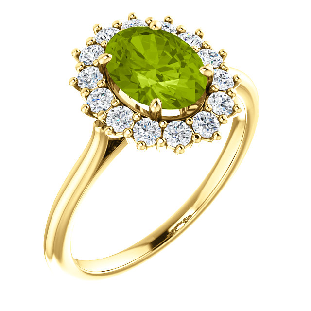Graceful 14 Karat Yellow Gold Oval Genuine Peridot & 3/8 Carat Total Weight Diamond Ring