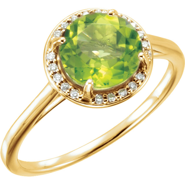 Must Have 14 Karat Yellow Gold Round Genuine Peridot and .05Carat Total Weight Diamond Ring