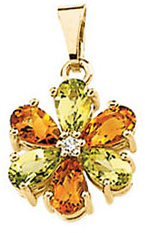 14KT Yellow Gold Peridot, Citrine & .02 Carat Total Weight Diamond Pendant