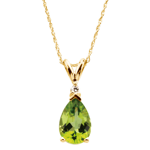 Perfect Jewelry Gift 14 Karat Yellow Gold 10x7mm Pear Peridot & .04 Carat Diamond 18