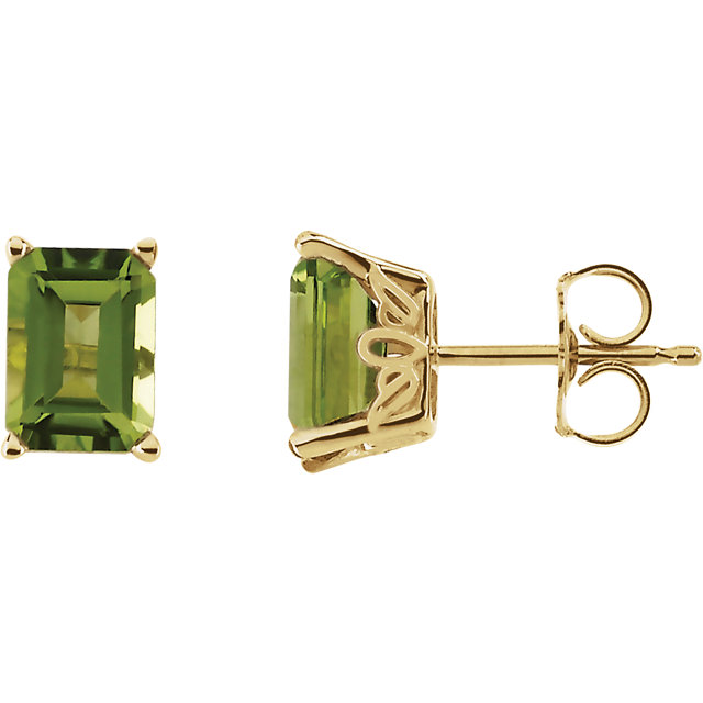 Magnificent 14 Karat Yellow Gold Peridot Earrings