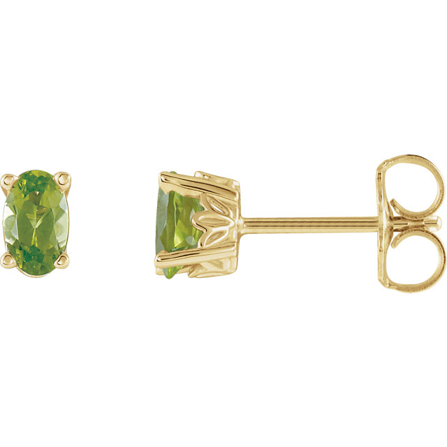 Easy Gift in 14 Karat Yellow Gold Peridot Earrings