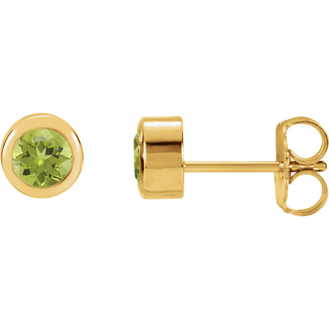 Contemporary 14 Karat Yellow Gold Peridot Earrings