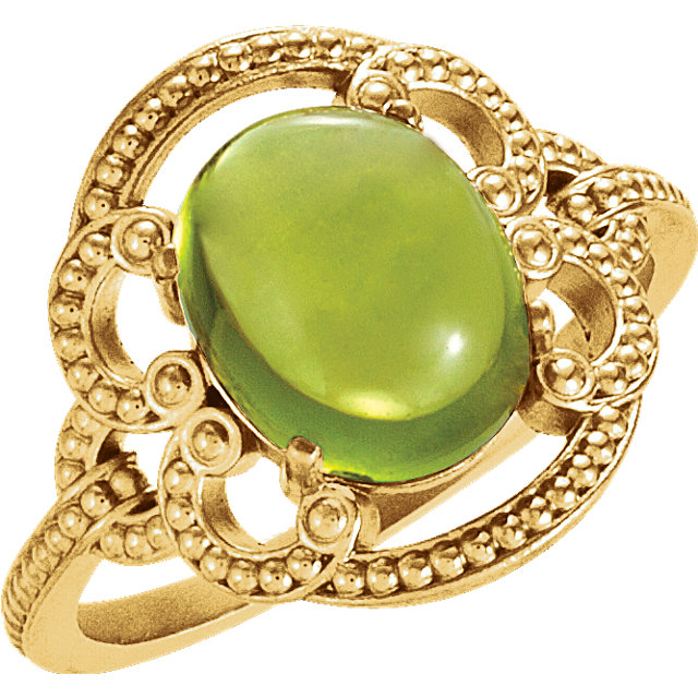 Classic 14 Karat Yellow Gold Oval Genuine Peridot Granulated Design Ring