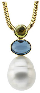 14KT Yellow Gold Peridot, London Blue Topaz & South Sea Cultured Pearl Pendant