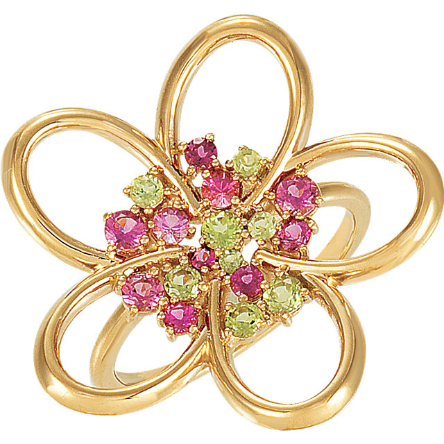 Surprise Her with  14 Karat Yellow Gold Peridot & Pink Tourmaline Floral-Inspired Ring