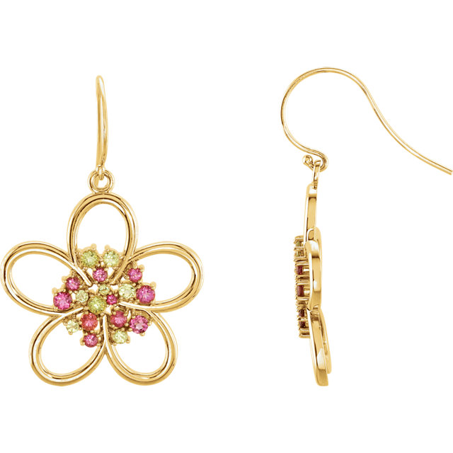 Eye Catchy 14 Karat Yellow Gold Peridot & Pink Tourmaline Flower Earrings